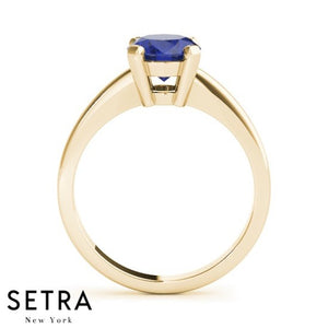 ELEGANT 18kt FINE ROSE GOLD SOLITAIRE OVAL SAPPHIRE ENGAGEMENT RING