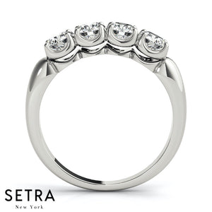 NEW 4 STONE ROUND CUT DIAMONDS PRONG SET BAND 14K GOLD RING