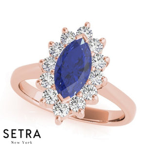 14k Yellow Gold Center Marquise Sapphire Gem & Diamonds Fashion Ring