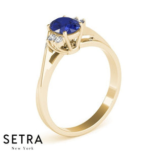 CLASSIC RIGHT HAND 14kt OVAL SAPPHIRE & DIAMONDS RING