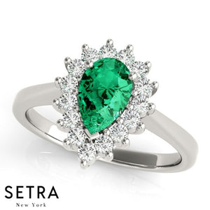 ROYALTY HALO RIGHT HAND 14kt PEAR CUT EMERALD & DIAMONDS RING