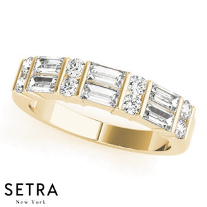 FINE 14kt YELLOW GOLD WITH ROUND & STRAIGHT BAGUETTE DIAMOND CUT BAND