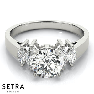FANCY MARQUISE CUT DIAMOND ENGAGEMENT 14K GOLD RING