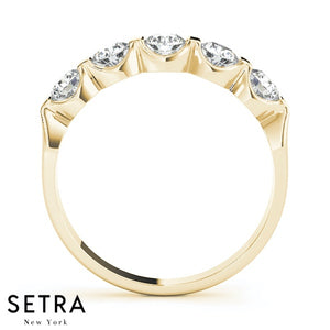 0.50 CT 5 STONE 14K GOLD DIAMONDS CHANNEL & BAR SET WEDDING BAND RING