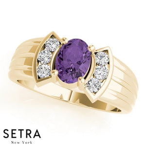 14kt Oval Cut Amethyst & Diamonds Classic Ring