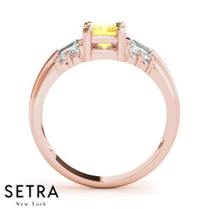 Radiant Cut Yellow Sapphire & Diamonds 14kt Rose Gold Ring