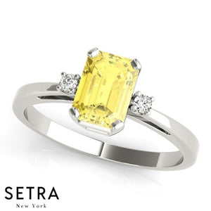 Radiant Cut Yellow Sapphire & Diamonds 14kt Yellow Gold Ring