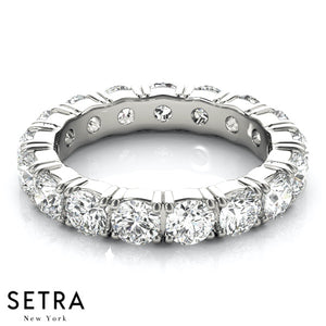 14K FINE GOLD ROUND CUT DIAMONDS ETERNITY WEDDING BAND RING