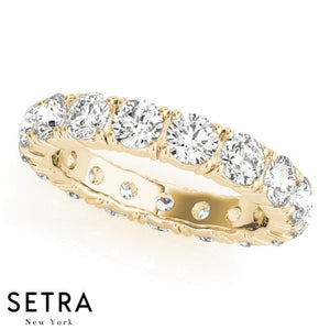 14K FINE YELLOW GOLD ROUND CUT DIAMONDS ETERNITY WEDDING BAND RING