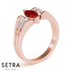 FANCY RIGHT HAND 14kt FINE ROSE GOLD HALO DIAMONDS & RUBY MARQUISE RING