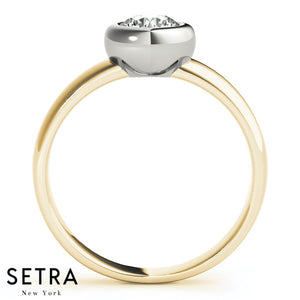 Solid Bezel Setting solitaire Diamond engagement 14kt Gold