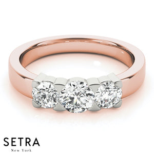 14K FINE ROSE GOLD ENGAGEMENT RING 3 STONE ROUND CUT DIAMONDS