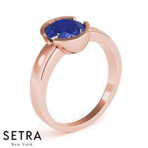 ELEGANT 18kt FINE ROSE GOLD SOLITAIRE OVAL SAPPHIRE SOLITAIRE ENGAGEMENT RING