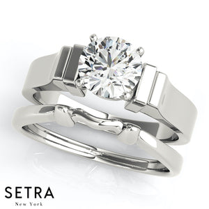 MATCHING SET OF SOLITAIRE DIAMOND ENGAGEMENT & BAND RINGS 14K GOLD