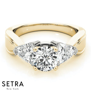 14K FINE GOLD ENGAGEMENT RING 3 STONE CLASSIC TRILLION DIAMONDS