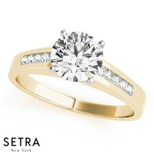 DIAMOND ENGAGEMENT RINGS SINGLE ROW CHANNEL SET 14K GOLD
