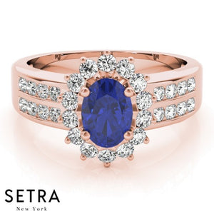 FANCY RIGHT HAND 14kt FINE ROSE GOLD HALO DIAMONDS & SAPPHIRE RING