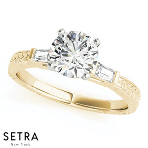 14kt GOLD ENGAGEMENT RINGS WITH SIDE BAGUETTE DIAMOND