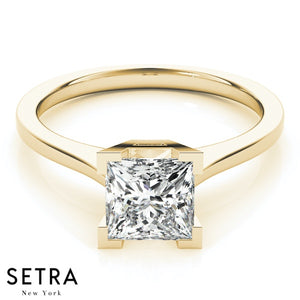 CERTIFIED GIA SOLITAIRE PRINCESS CUT DIAMOND ENGAGEMENT RINGS 18K GOLD