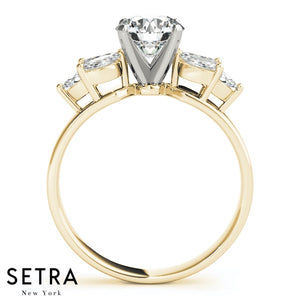 FANCY SIDE MARQUISE CUT DIAMOND ENGAGEMENT 14K GOLD RING