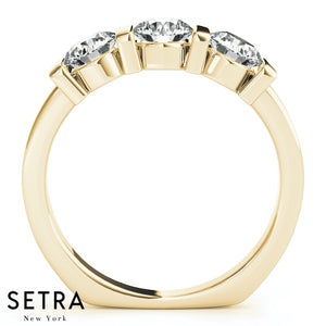 14K FINE GOLD ENGAGEMENT RING 3 STONE BAR SET ROUND CUT DIAMONDS