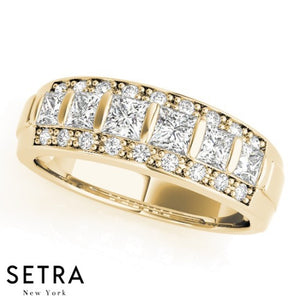 PRINCESS & ROUND CUT DIAMONDS WEDDING BAND 14kt GOLD
