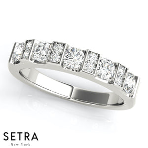 0.63 CT 5 STONE 14K GOLD DIAMOND CHANNEL & BAR SET WEDDING BAND