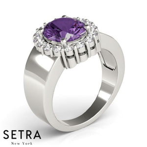 14kt Oval Cut Amethyst & Diamonds Classic Halo Ring