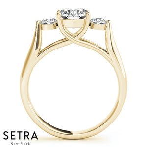 14K FINE GOLD ENGAGEMENT RING 3 STONE LUCIDA PRONG SET ROUND CUT DIAMONDS