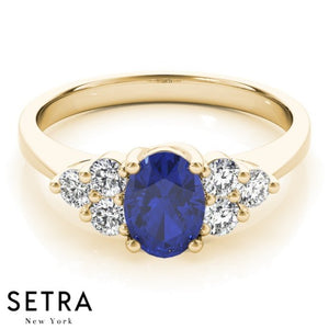 ELEGANT  RIGHT HAND 14 FINE YELLOW GOLD OVAL SAPPHIRE & DIAMONDS RING