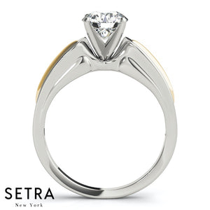 SOLITAIRE DIAMOND ENGAGEMENT RINGS 14K TWO-TONE GOLD