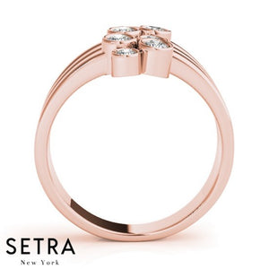 Open Shank 14kt Fine Rose Gold Diamond Ring