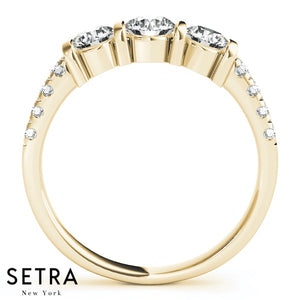 14K FINE GOLD ENGAGEMENT RING 3 STONE PRONG SET ROUND CUT DIAMONDS