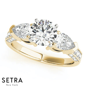 14K FINE GOLD ELEGANT ENGAGEMENT RING DIAMONDS RINGS 3 STONE PEAR