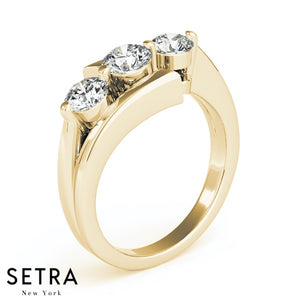 3 STONE ROUND CUT DIAMONDS ELEGANT 14K FINE GOLD ENGAGEMENT RING