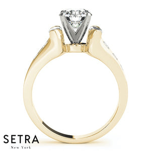 FANCY STRAIGHT MARQUISE & ROUND CUT DIAMOND ENGAGEMENT 14K GOLD RING