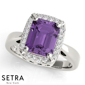 14kt Radiant Cut Amethyst & Diamonds Classic Right Hand Ring