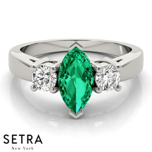 14k Rose Gold Center Marquise Emerald Gem & Diamonds Fashion Ring