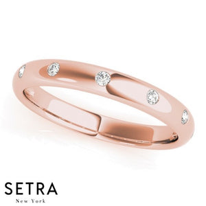 FINE ROSE 14K GOLD FOREVER DIAMOND ETERNITY BAND