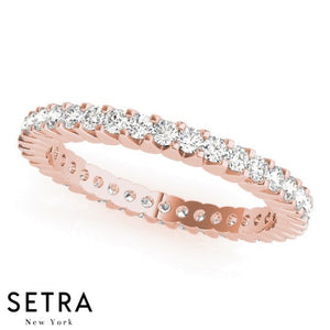 14K FINE ROSE GOLD DIAMONDS ETERNITY WEDDING BAND RING