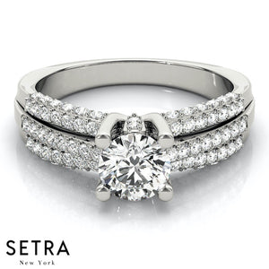 MICRO-PAVE SETTING DIAMOND ENGAGEMENT RINGS MULTIROW 14K GOLD