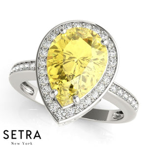 14k Yellow Gold Center Pear Cut Yellow Sapphire Gem & Diamonds Ring