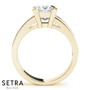 FANCY SIDE PRINCESS CUT DIAMOND ENGAGEMENT 14K GOLD RING