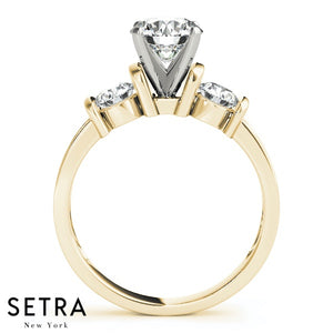 STONE ROUND CUT DIAMONDS ELEGANT 14K FINE GOLD ENGAGEMENT RING