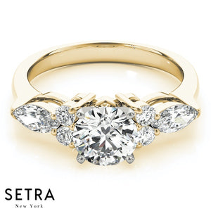 FANCY MARQUISE & ROUND CUT DIAMOND ENGAGEMENT 14K GOLD RING