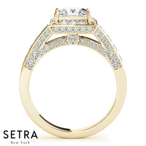 DIAMOND ENGAGEMENT RINGS HALO SQUARE CUSHION 14K GOLD