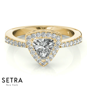 14K FINE GOLD TRILLION CUT DIAMOND IN TRILLION HALO SEMI-MOUNT ENGAGEMENT RING