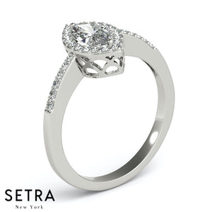 Colette Marquise Pavé Halo Engagement Ring