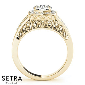 14K FINE GOLD ROUND CUT DIAMOND IN ROUND HALO SEMI-MOUNT ENGAGEMENT RING