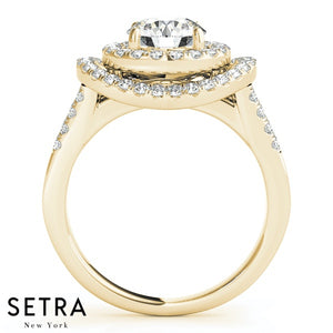 14K FINE GOLD ROUND CUT DIAMOND IN ROUND DOUBLE HALO SEMI-MOUNT ENGAGEMENT RING